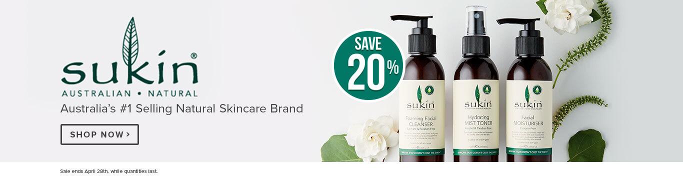 Save 20% on Sukin Skincare
