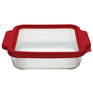 Anchor 8 Inch Square Cake Pan with TrueFit Lid Red