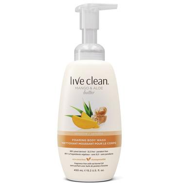 Live Clean Mango & Aloe Butter Sensitive Foaming Body Wash