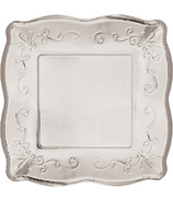 Elise Embossed Square Luncheon Plate Silver