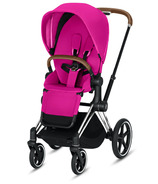 Cybex Priam Chrome Brown Frame with Fancy Pink Seat Pack