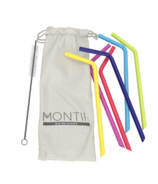 Montii Co Silicone Reusable Straw Set Rainbow