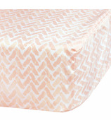 Perlimpinpin Fitted Crib Sheet Pink Chevron