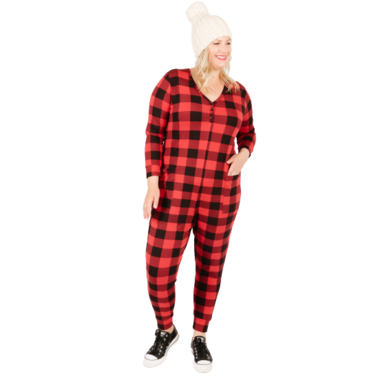 Smash + Tess The S+T Present in Plaid Romper Poinsetta Red Buffalo Check