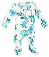L'oved Baby Organic Zipper Footed Overall Seaweed