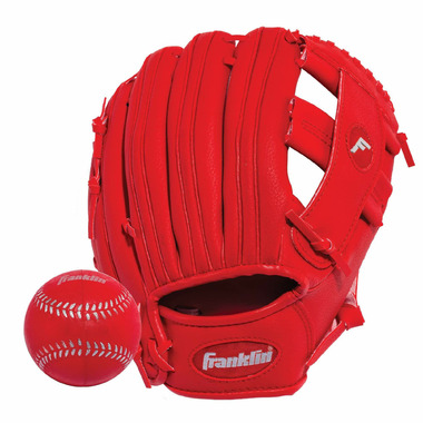 """Franklin Sports 9.5\"""" RTP Performance Glove and Ball Red"""