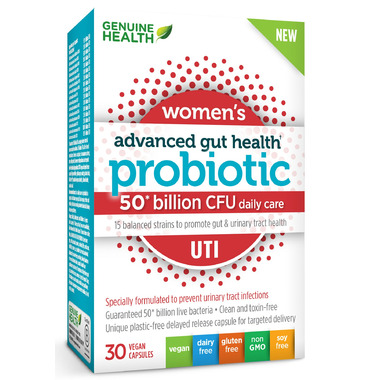 Genuine Health Advanced Gut Health Probiotic Womens UTI 50 Billion CFU