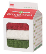 Now Designs Milk Carton Dishcloth Set Red, White & Green