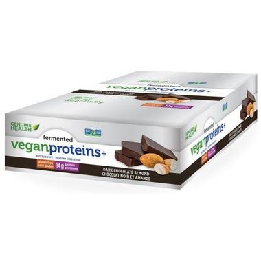 Genuine Health Fermented Vegan Proteins+ Bar Case Dark Chocolate Almond