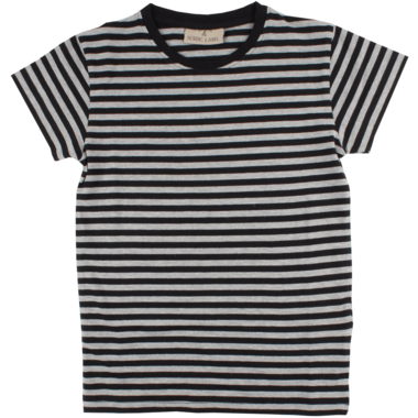 Nordic Label Short Sleeve Stripped T-Shirt Black