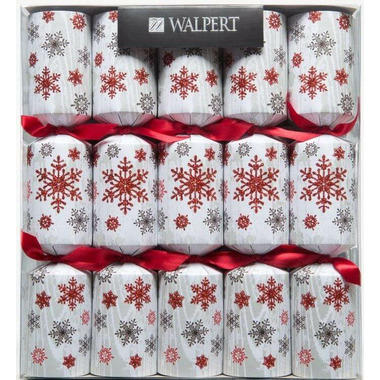 Walpert Festive Crackers with Red Glittery Snowflakes