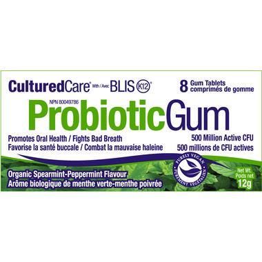 CulturedCare Probiotic Gum with BLIS-K12 Spearmint/Peppermint