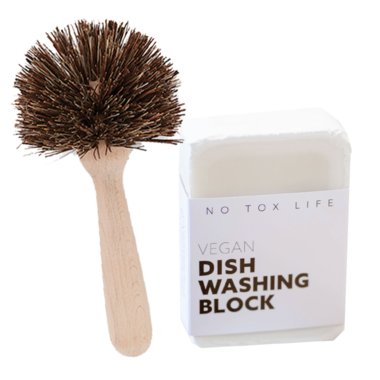 No Tox Life Dish Block Bar & Natural Dish Brush Bundle