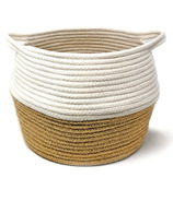 Natural Living Cotton Basket White/Natural Jute
