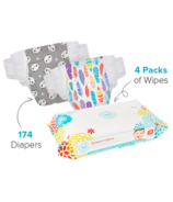 The Honest Company Feather & Panda Print Diapers & Wipes Bundle Size 4