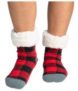 Pudus Large Men's Slipper Sock Lumberjack Red