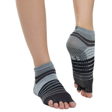 Gaiam No-Slip Toeless Yoga Socks Size S/M in Grey & Black