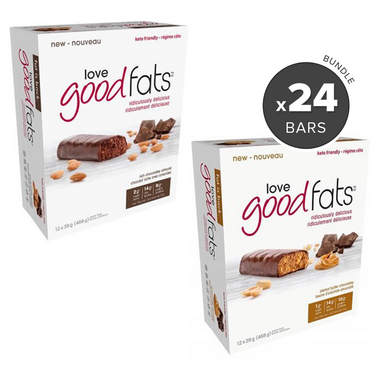 Love Good Fats Peanut Butter Chocolate & Chocolatey Almond Snack Bar Bundle
