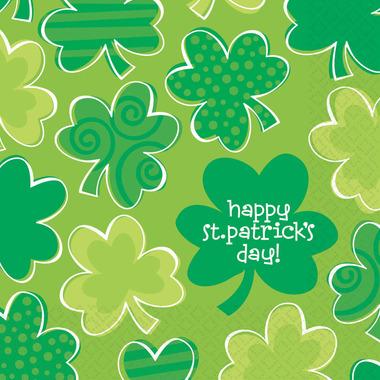 Playful Shamrocks Paper Luncheon Napkins