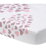 Lambs & Ivy Heart to Heart Pink White Fitted Crib Sheet