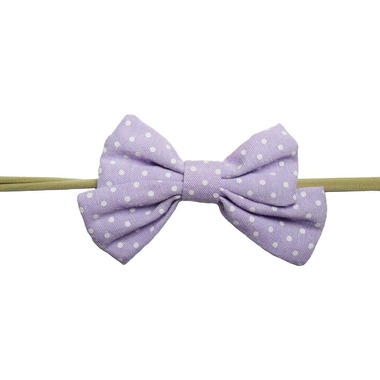 Baby Wisp Oversized Headband Sailor Bow Lavendar and White Polka Dots