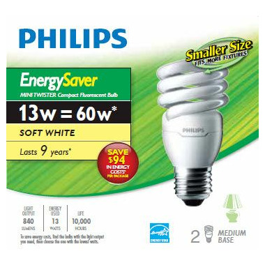 Philips - 60W CFL Mini Twist - Soft White