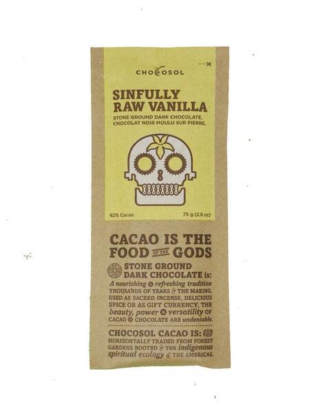 Sinfully Raw Vanilla Dark Chocolate Bar