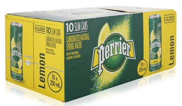 Perrier - Carbonated Natural Spring Water - Lemon - 10 Pack