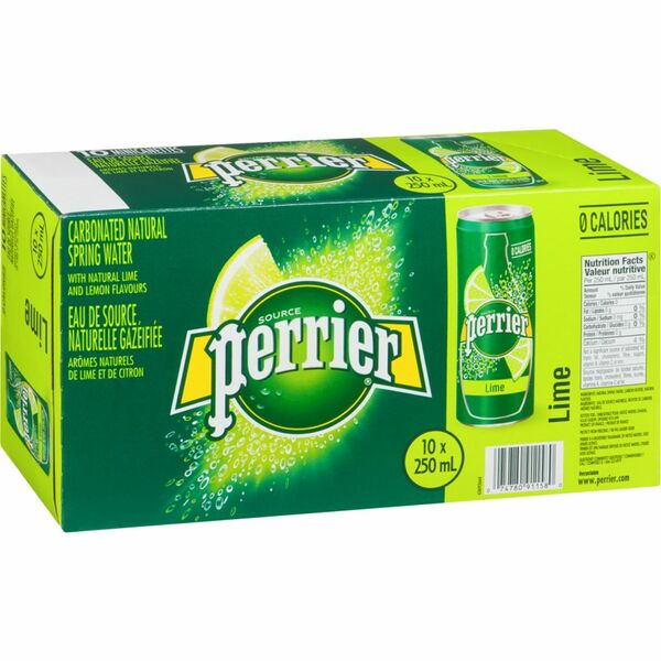 Perrier - Carbonated Natural Spring Water - Lime - 10 Pack