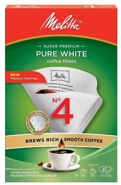 Melitta - Super Premium - Pure White - Coffee Filters - No 4