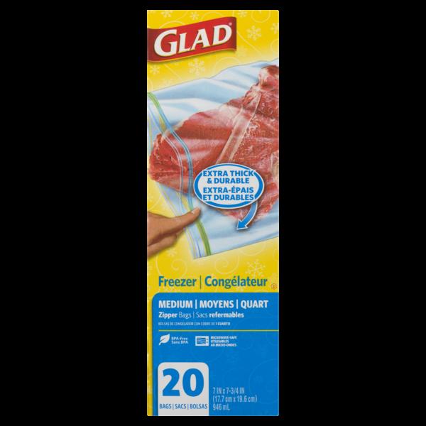 Glad - Zipper Freezer Bags - Medium